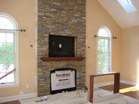 Fireplace Area for TV being built